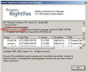RightFax_Version_Number_Screenshot